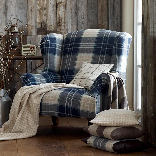 Feature Chair Re-Upholstered in Checks